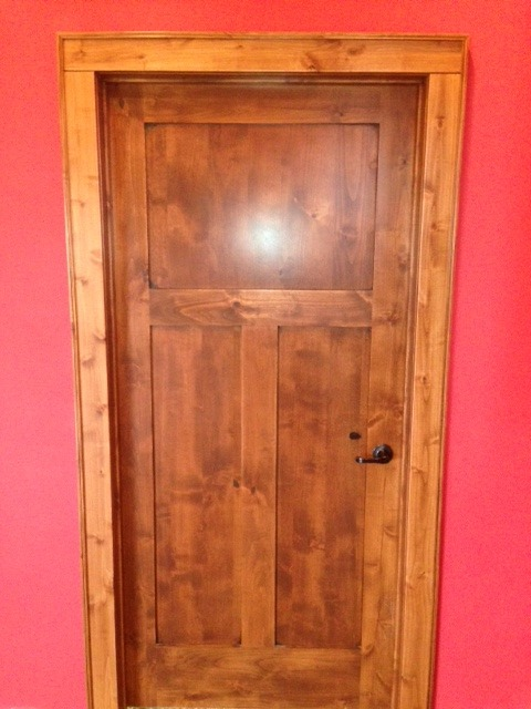 ... The Tongue U0026 Groove   Knotty Alder Flat Panel Mission Door With Mocha  Stain ...